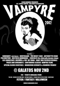 Event poster for the Vampyre Ball 2002